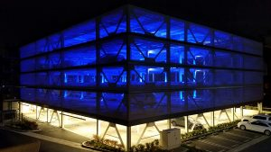 Tensile facades with LED lighting